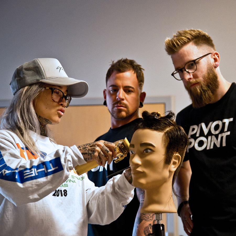 sofie pok, Pivot Point Barbering, barbering mannequin