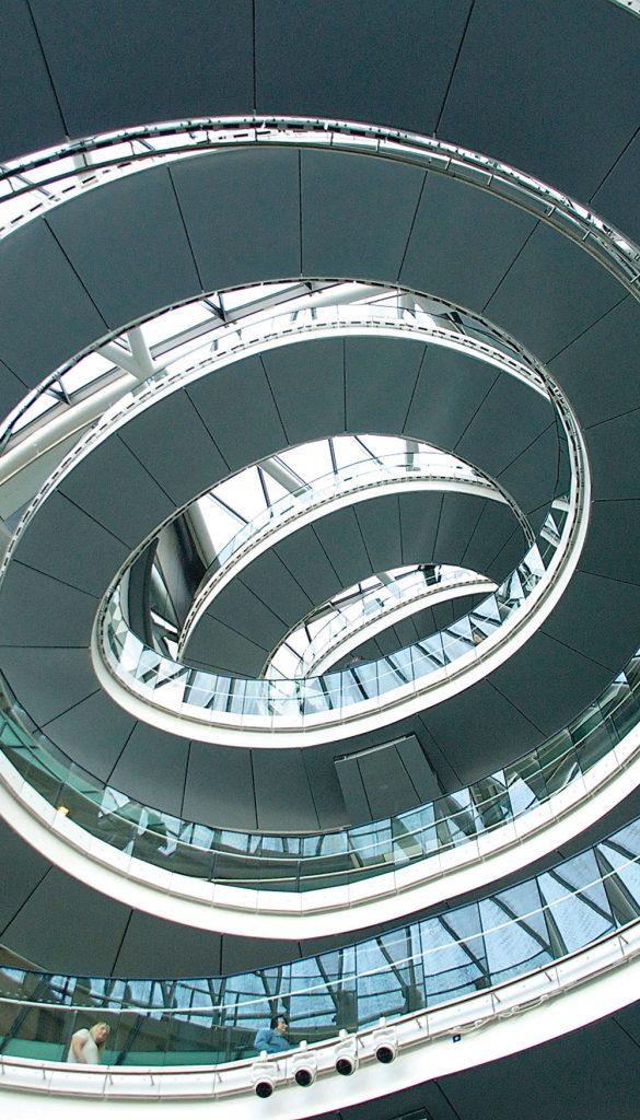Tightening spiral walkway, evocative of long hair designs.