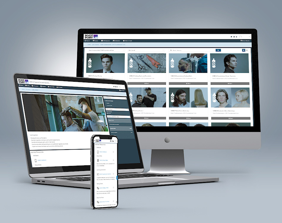 Pivot Point Fundamentals: Barbering LAB content on desktop, laptop and mobile device.