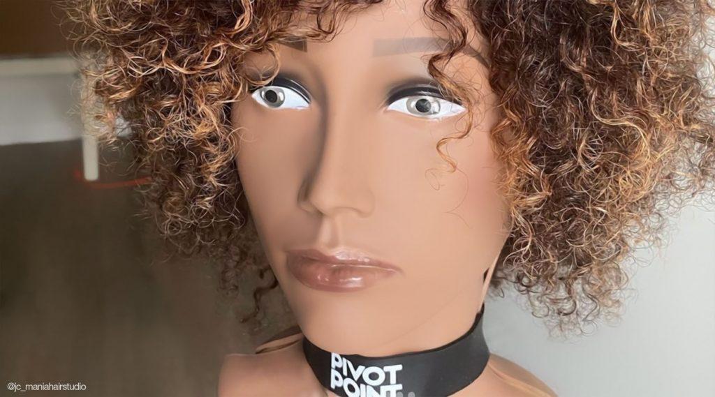 Styled Pivot Point Mannequin. Textured hair. Brown Hair. @jc_maniahairstudio