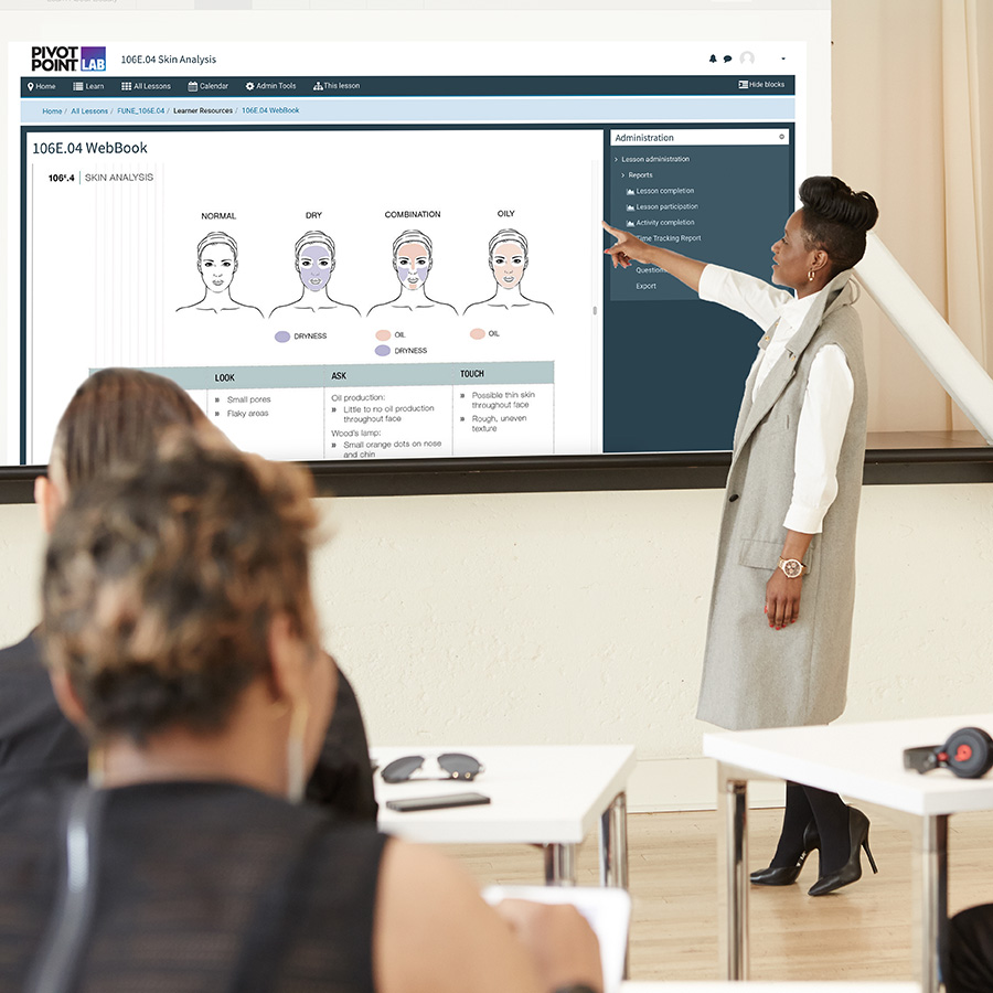 Pivot Point Instructor teaching with Lab projection on white board