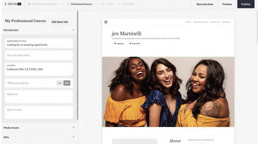 Canvas me template with three positive women in the banner