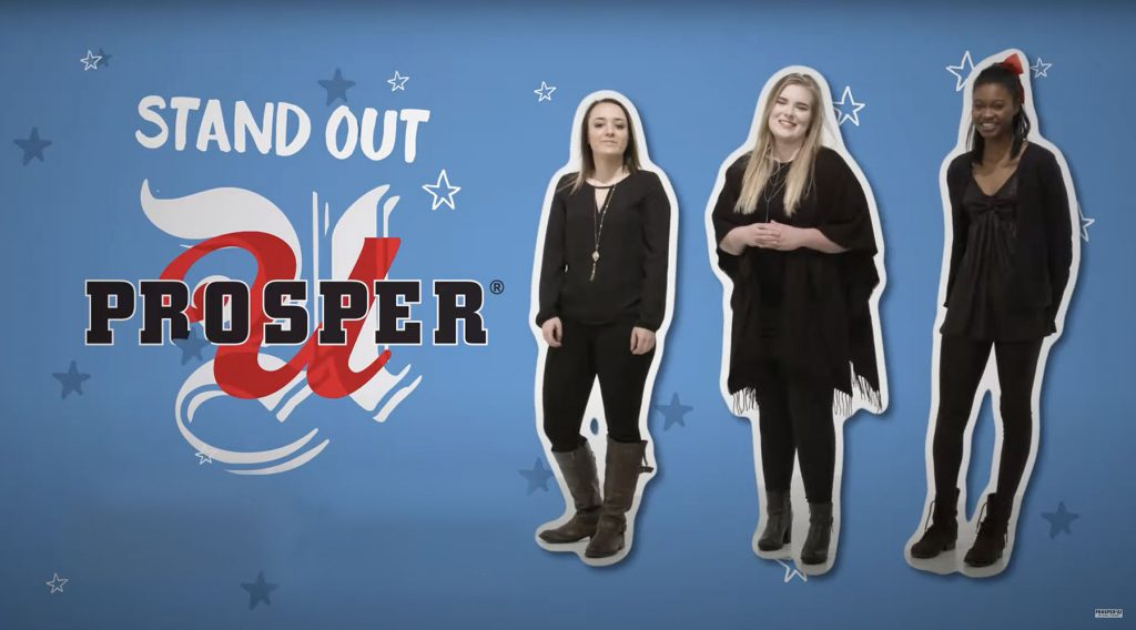 Prosper U poster with three positive young women with smile