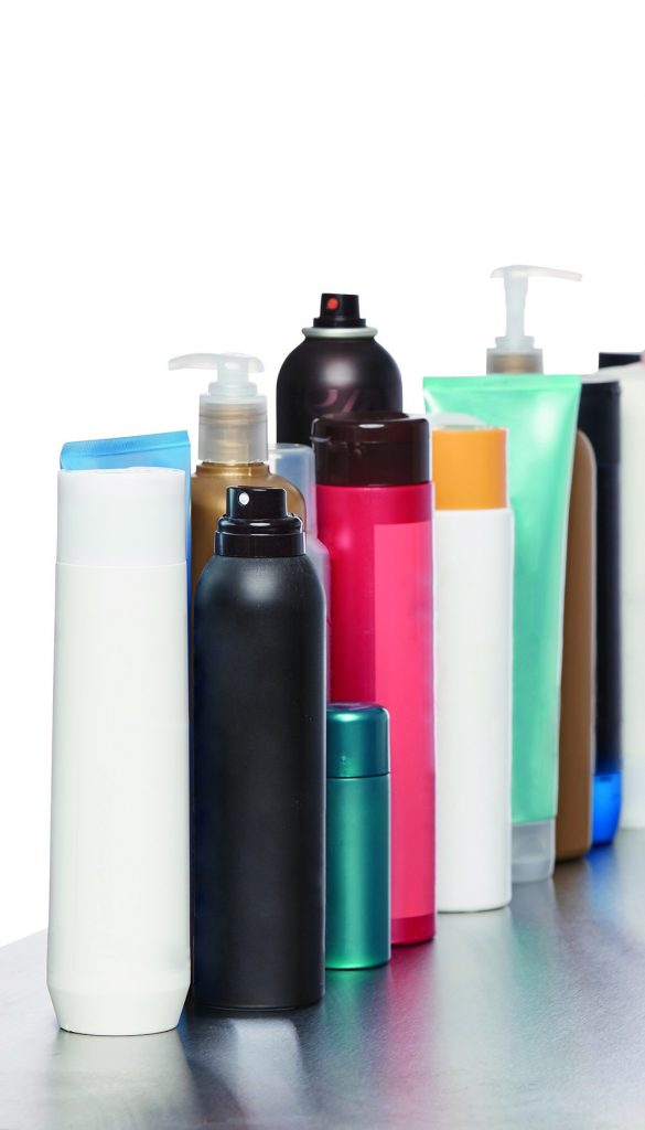 Various containers of beauty products.
