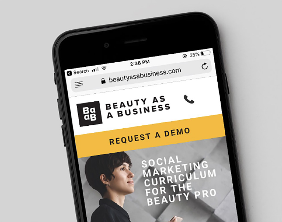 Beauty as a Business on a mobile device.