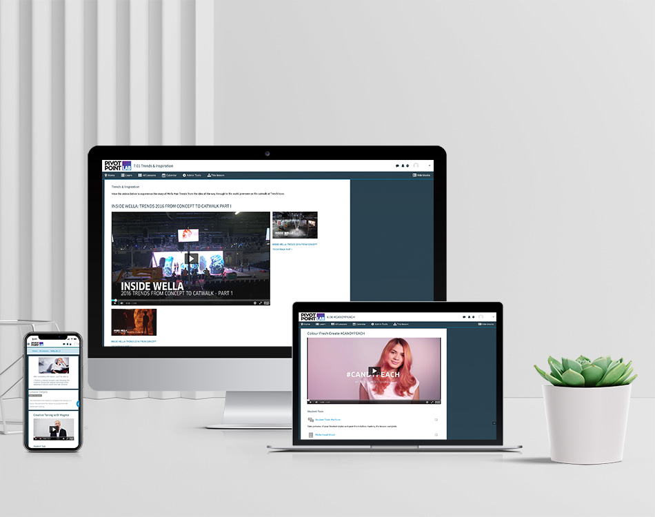 Wella content on computers and a mobile device.