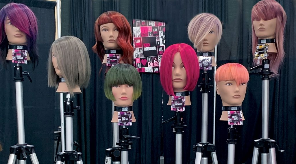 Pivot Point Mannequins with different completed color designs.