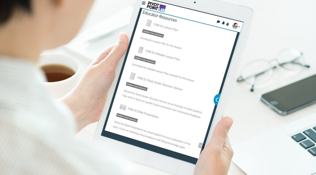 Educator resources on iPad