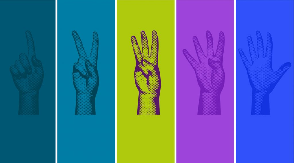 hands representing generations 1-5