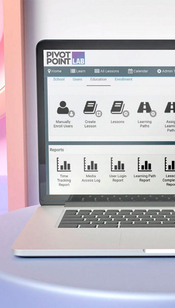 Laptop showing Pivot Point LAB Admin tools