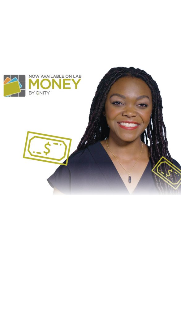 Smiling African American Woman with Money by Qnity logo